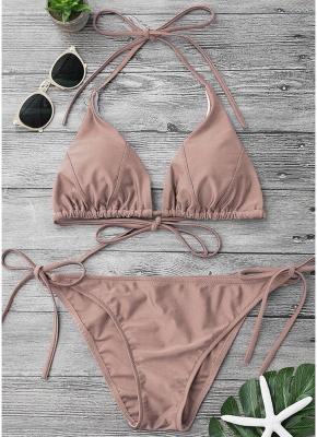 Solid Color Halter Bodycon Tie Bikini Set UK_1