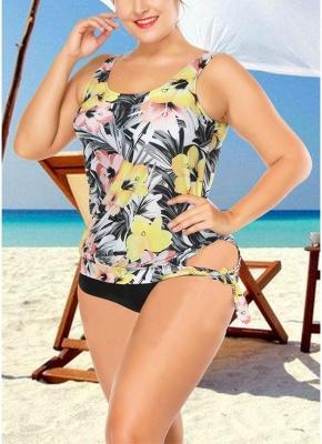 Plus Size Floral Print Tankini Sleeveless Two Piece Swimwear_3