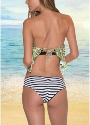 Off the Shoulder Ruffles Striped Leaf Print Bathing Bikini Set_3