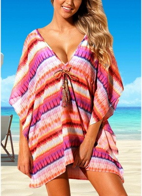Women Beach Cover Up Dress Bohemian Geometric Print V-Neck Loose Swimsuits UK_1