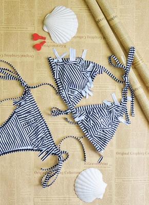 Womens Bathing Suit Striped Halter Bandage Sexy Open Back Tassel Swimsuit Beach Wear Bikini Set_5