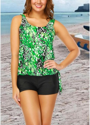 Modern Women Plus Size Push Up Tankini Swimsuit Padded Swimwear Printed Bathing Suit_4
