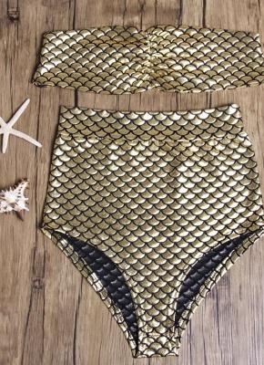 Strapless Metallic High Waist Bikini_5