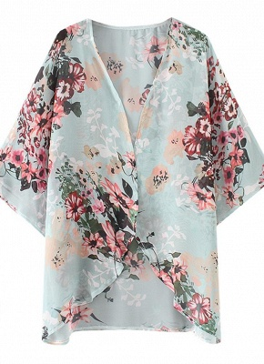 Summer Women Floral Chiffon Cardigan Sexy Open Front Half Sleeve Kimono_5