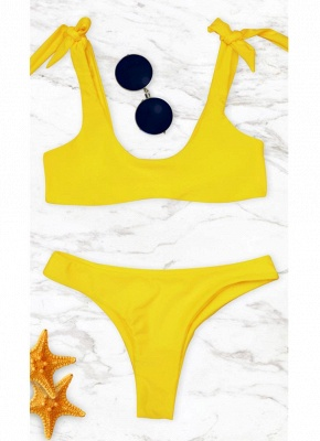 Womens Bikini Set Tied Bow Padded Wireless Low Waist Solid Tank top_2