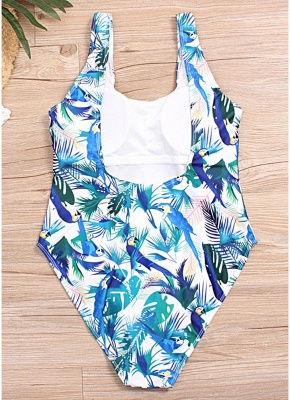 Plus Size Leaf Print High Leg Padded Cup One Piece Swimsuit_7