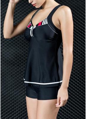 Women Tank Top Bathing Suit UK Tankini Set Contrast Color Vest Bottom Swimsuit_4