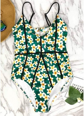 Womens One-Piece Swimsuit Printed Cut Out Back Bathing Suit Playsuit Jumpsuit Rompers_6