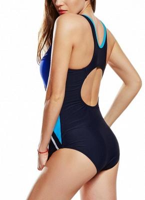 Modern Women Sporty One Piece Swimsuit Racer Back Contrast Splicing Padded Swimwear Playsuit_5