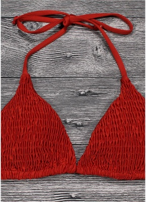 Womens Bikini Set Solid Shirred Halter Top Bottom Beach Bathing Suit Swimsuit_3