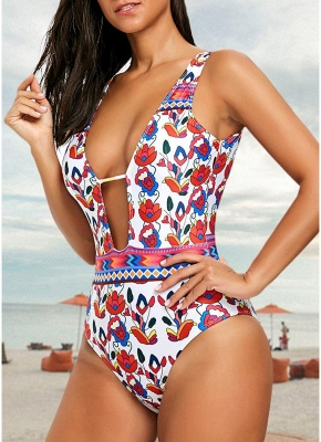 Printed Plunge V Neck High Waist Sexy Open Back One Piece Swimsuit_3