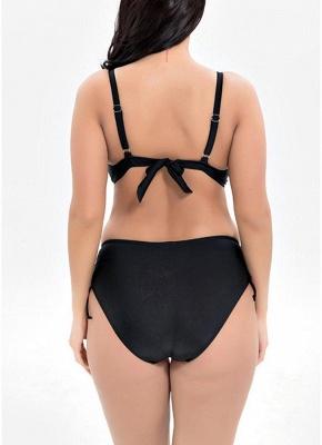 Plus Size Metallic Floral Print Underwire Push Up High Waist Bikini_6