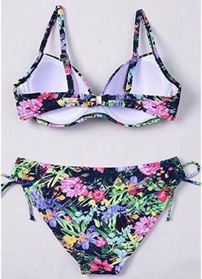 Women Underwire Tank Tops Bathing Suit UK Floral Drawstring Bikini Set UK Bathing Swimsuits UK_7