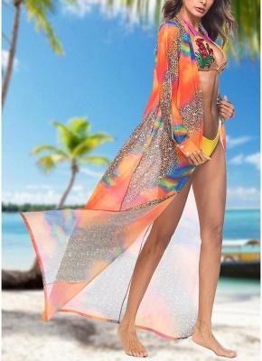 Women Leopard Print Chiffon Cardigan Bikini UK CoverUp Beach Bohemian Outwear Maxi Coverups_5