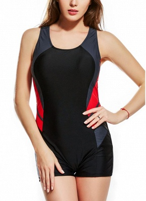 Panel Splicing Racing Sports One Piece Bathing Suit UK_1