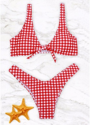 Women Gingham Bikini Set UK Knot Front High Leg_2