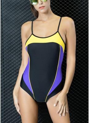 Modern Women One-Piece Swimwear Color Splice Strappy Sleeveless Padding Wireless Bathing Suit Swimsuits_1