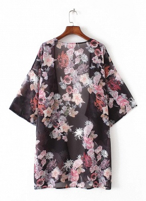 Fashion Chiffon Loose Cardigan Front Floral Retro Women's Kimono_5