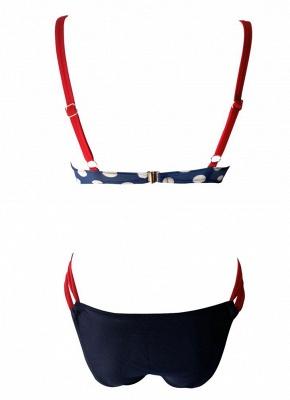 Women Low Waisted Polka dots Print Underwire Tank Top Bikini Set UK_6