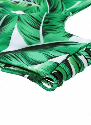 Tropical Leaves Print Bodycon Padded Bikini UK_7