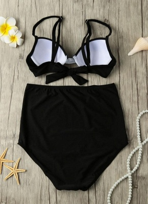 Solid Color Tie Back Underwire High Waist Bikini Set_5
