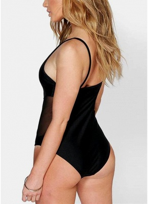 Solid Sheer Mesh Splicing V Shape Spaghetti Strap Sexy Open Back One Piece Swimsuit_3