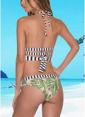 Leaf Striped Halter Tie Back Padded Bikini Set_3