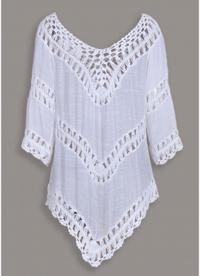 Women Beach Cover Ups Hollow Out Crocheted Lace Plunge V-neck Asymmetrical Hem_1