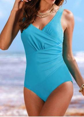 Women's Retro Big Ruffled Sexy Backless Monokini Swimsui_1
