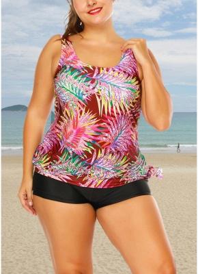 Plus Size Print Tankini O Neck Sleeveless Two Piece Swimwear_3