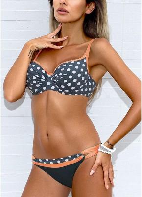 Women Low Waisted Polka dots Print Underwire Tank Top Bikini Set UK_2