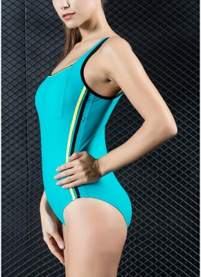 Womens Sports One Piece Swimsuit Bathing Suit Sexy Open Back Splice Racing Training Swimsuit_4