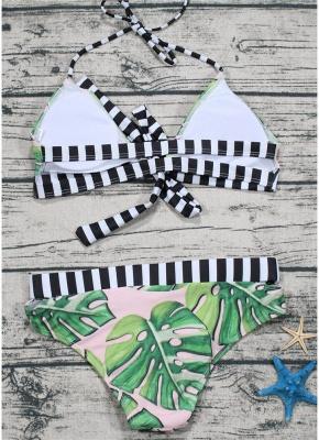 Leaf Striped Halter Tie Back Padded Bikini Set_5