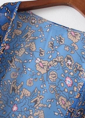 Vintage Chiffon Floral Leaf Print Modern Women's Loose Kimono_4