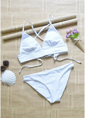 Hot Womens Strappy Bikini Set Deep V-Neck Tie Back Low Waist Bathing Suit Swimsuit Beach Swimsuit White_5