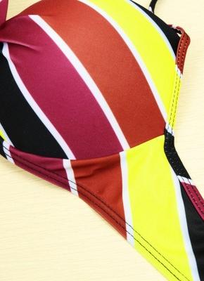 Contrast Stripe Underwire Padded Cup Tie Bikini Set UK Bathing Suit UK_13
