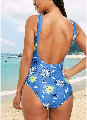 Womens One-Piece Swimsuit Sexy Open Back High Cut Contrast Print_3