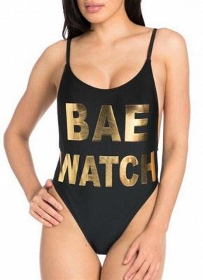 Women Letter Print One Piece Bathing Suit UK Spaghetti Strap High Cut Summer Swimsuits UK_1