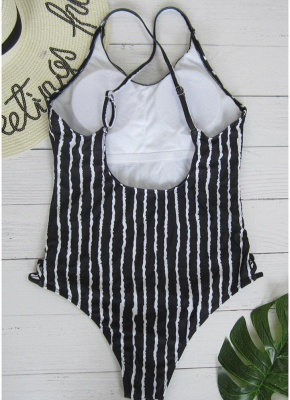 Striped Print V Neck Hollow Out Waist Cross Straps Padded Women Bathing Suit UK_3