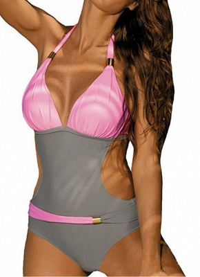 Modern Women's Contrast Color Block Halter Backless One Piece Swimsuit_4