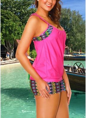 Geometric Print Sleeveless Sexy Open Back Padded Wireless Swimsuit_3