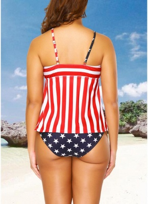 Plus Size Stars Stripes Print Hollow Out Front Bikini Set_4