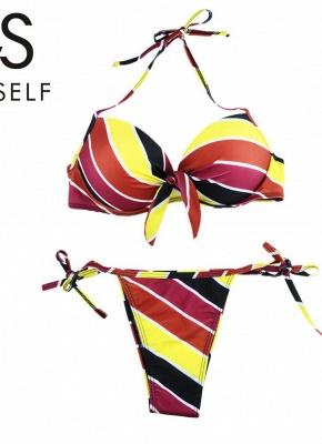 Contrast Stripe Underwire Padded Cup Tie Bikini Set UK Bathing Suit UK_19