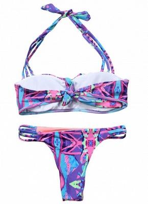 Hot Women Strappy Halter Bikini Set UK Contrast Print Sexy Backless Low Waist Cutout Thong Biquini Swimsuits UK Bathing Suit UK_3