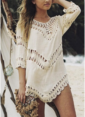 Women Beach Cover Ups Hollow Out Crocheted Lace Plunge V-neck Asymmetrical Hem_2