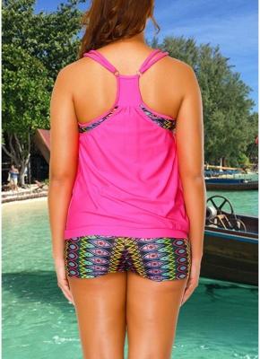 Geometric Print Sleeveless Sexy Open Back Padded Wireless Swimsuit_5