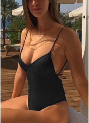 Spaghetti Strap Open Back Solid Padded Swimsuits UK_9