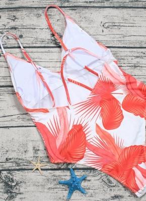 Leaf Print V Neck Sexy Open Back Sleeveless One Piece Swimsuit_6