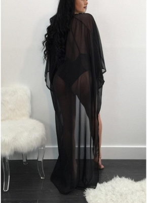 Mesh Cover Up Plugging V Neck Cross back One Piece Swimsuit Long Sleeve_3