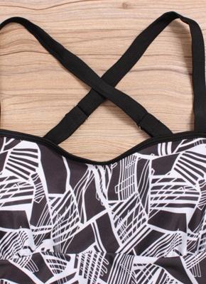 Modern Women Plus Size Tankini Set Geometric Print Shoulder Strap Beachwear Swimwear Swimsuit_6